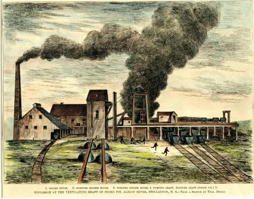 a colour drawing of the explosion at the Foord Pit, from a sketch by Thomas Doran. Several buildings are shown. Smoke is coming from a smokestack but also from in the mine. Several figures are shown running away.