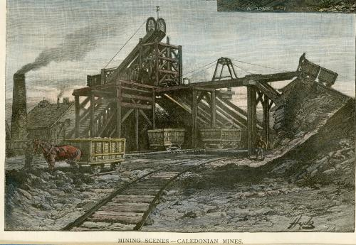 : an engraving of the pithead of the Caledonia coal mine, Glace Bay, no date, but likely late 1800s. It shows the timber work supporting the wheel that lowered rakes of miners into the coal mine. Empty coal cars are present, including one with a horse and minder. A building in the background has a smokestack beside it and smoke coming out of the stack.