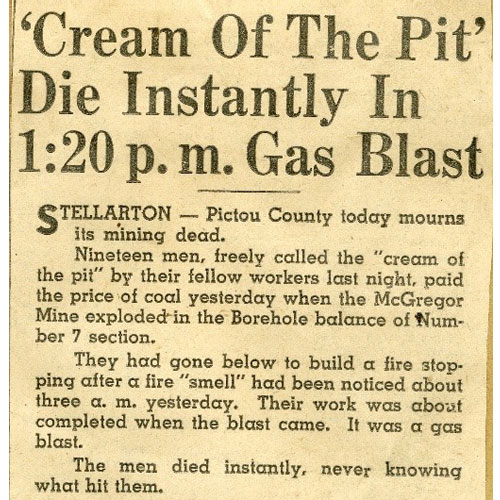 A colour image of a newspaper clipping with the headline 'Cream of the Pit' Die Instantly In 1:20 p.m. Gas Blast. The excerpted article provides some information about the Explosion.