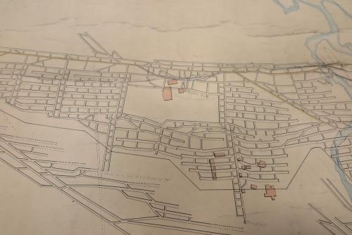 A map of underground mine workings by James W. Fraser. There is no date. The map shows the layout of the old Foord seam workings, mapping the roadways and tunnels. Surface buildings are overlain as pink shapes.