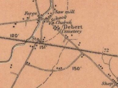 A map showing the locations of buildings, churches, a forge and saw mill in 1905 in the area of Debert. There are also roads and a railway track.