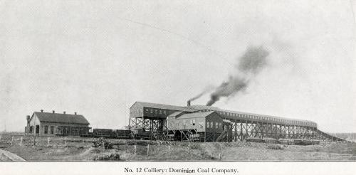 A black and white photograph of the surface buildings of the Number 12 colliery in New Waterford, circa 1916.