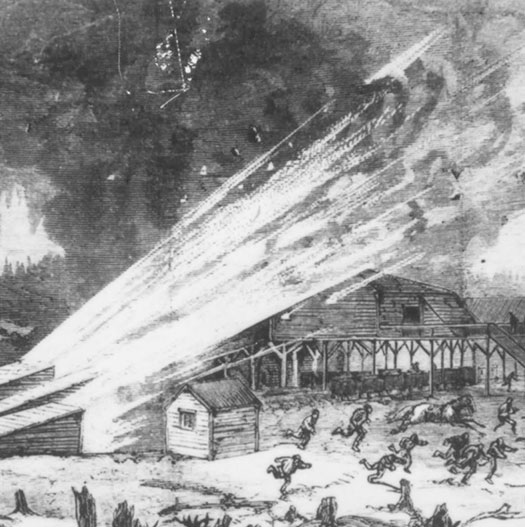 Artist's depiction of Drummond Mine Explosion, Pictou County, 1873, from Canadian Illustrated News, May 31, 1893. MOI I91.32.633.