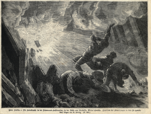 Engraving showing bodies falling backwards and mine timbers snapping from a blast.