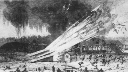a black and white engraving or an artist's depiction of the impact of the Drummond Mine explosion of 1873 on the mine surface. It shows flashes of light coming out of the roofed in areas of the three mine openings, debris flying and people running away. There are stumps in the foreground and billows of black smoke in the background. This engraving appeared in Canadian Illustrated News, May 31, 1893.