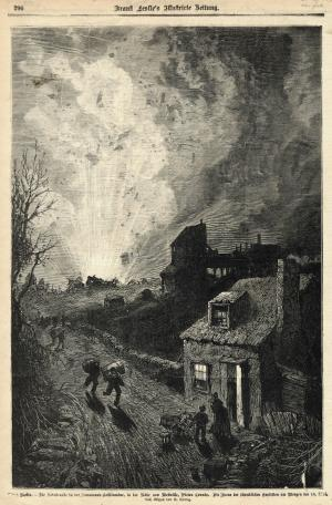 An engraving of an artist's impression of a pit scene during the Drummond Mine Explosion of 1873. The scene shows an explosion in the background, people running down a road with sacks and packages on their backs and a cottage in the foreground. A woman and child stand next to the open cottage door. It is nighttime.