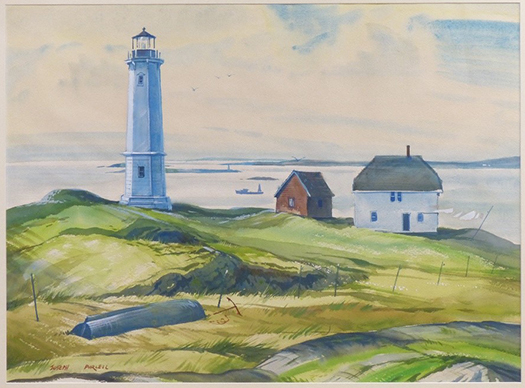 a watercolour painting from 1960 by the Nova Scotia artist Joseph Purcell. It is one of 36 scenes of Cape Breton sea and landscapes depicted in the Silver Dart collection. This one is a scene of a lighthouse on a green grassy island, with a white house and red outbuilding nearby. There is water and distant land in the background.