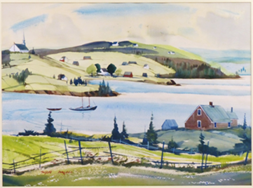 a watercolour painting from 1960 by the Nova Scotia artist Joseph Purcell. It is one of 36 scenes of Cape Breton sea and landscapes depicted in the Silver Dart collection. This one is a scene of a harbour with hills dotted with houses and a church in the background, and a house, fence, field and trees in the foreground.