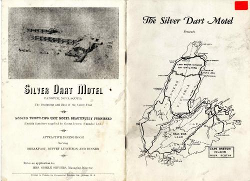 An image of front and back covers of a brochure called The Silver Dart Presents and featuring a map of Cape Breton Island on the front, complete with various tourist routes. On the back is a sketch of the Silver Dart Motel and includes information about its features. This is pamphlet 1572 from the Beaton Institute, Cape Breton University.