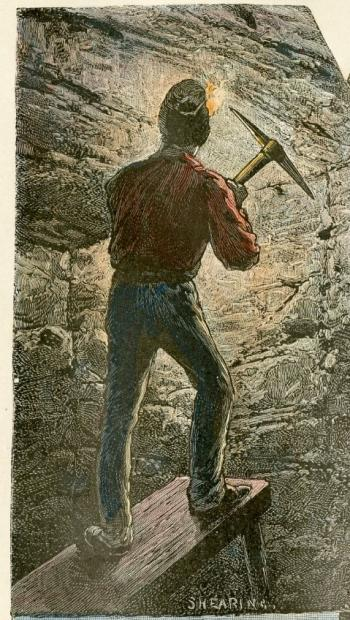 A coloured line drawing of the back of a coal miner standing on a wooden bench with a pick raised to the coal face. This is part of an illustration from the late 1800s by Shearing of Glace Bay's Caledonia colliery.