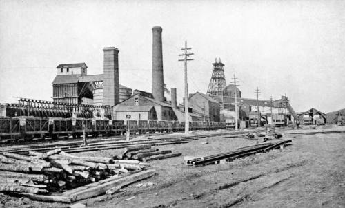 A photograph showing the surface buildings, chimneys, pitframe, and cars of coal on a railway track at the Princess colliery, Sydney Mines, 1916.