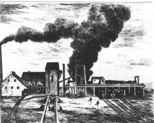 Sketch of an explosion in the ventilating shaft of the Foord Works, Albion Mines, ca. 1880. MOI collection.