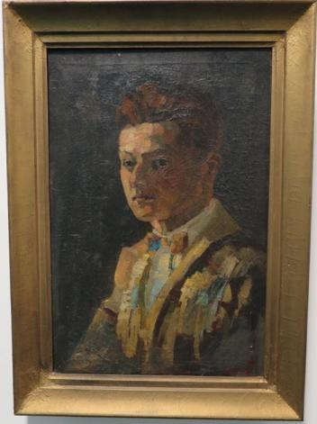 A colour photograph of a painting of a young man in a jacket and bowtie. It is a self-portrait of the artist James Frederick McCulloch.