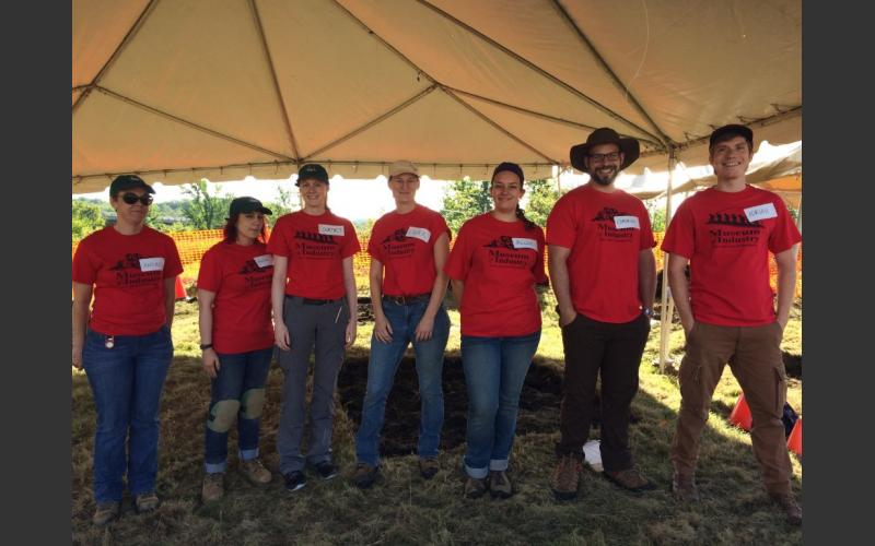 Seven archaeologists volunteered their time to guide the work of participants. The number of archaeologists determined the number of amateur diggers that could be registered. They wore red Museum of Industry shirts so that they could be identified for questions.