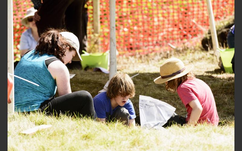 Parents were hands-on with their kids in the dirt.