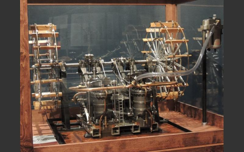 Visitors can operate this side lever steam engine model to explore the technology Cunard first used in his steam vessels.