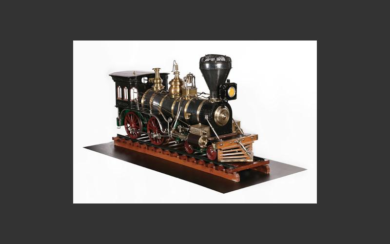 This exquisitely detailed model of a wood-burning locomotive can be seen in the Age of Steam. It bears a plaque reading Avon Locomotive Works 1866 and it was on display in Windsor in 1900 where an American visitor bought it. It returned to Nova Scotia in 1971.