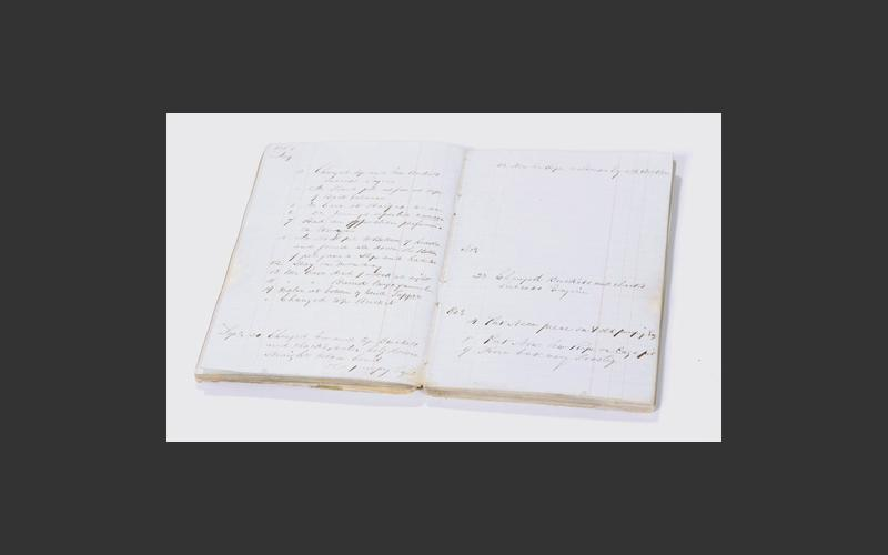 Thomas Blenkensop's notebook contains sporadic notes concerning the operations at Albion Mines during the 1860s to the 1880s.
