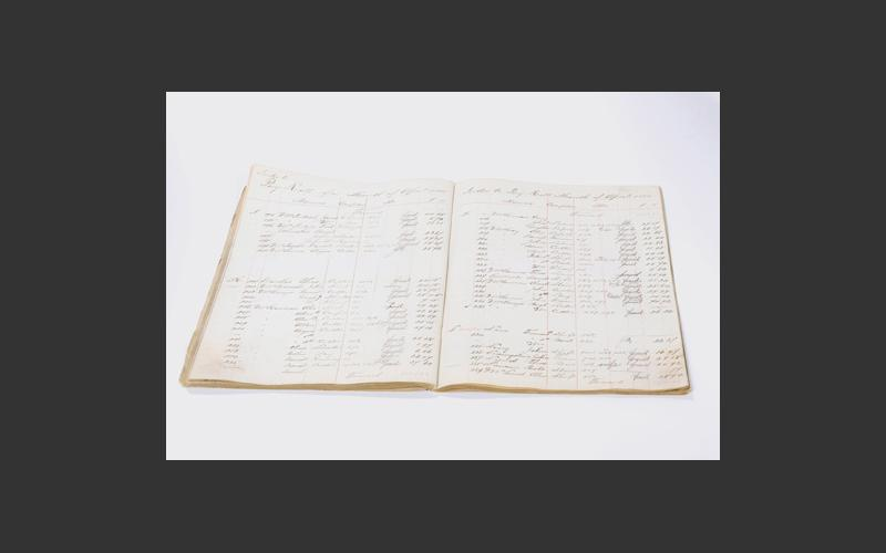 Payroll ledger from Albion Mines covering February to May 1885. It contains the names, occupations and pay rates of men employed in the mine.
