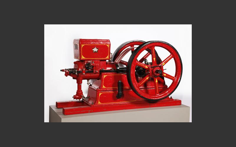 A ten horse-power, double flywheel stationary engine made by Acadia Gas Engines of Bridgewater.