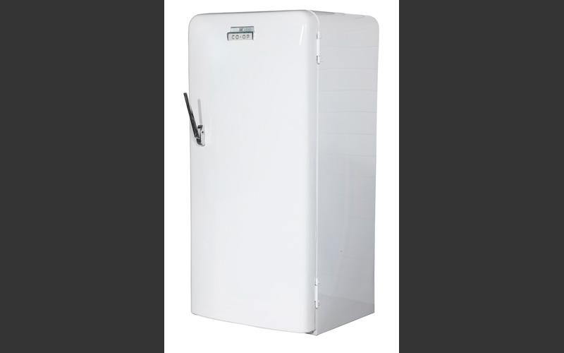 An electric refrigerator was one of the improvements electricity brought to home life. This one was purchased by a Cape Breton coal miner from his Co-op store.