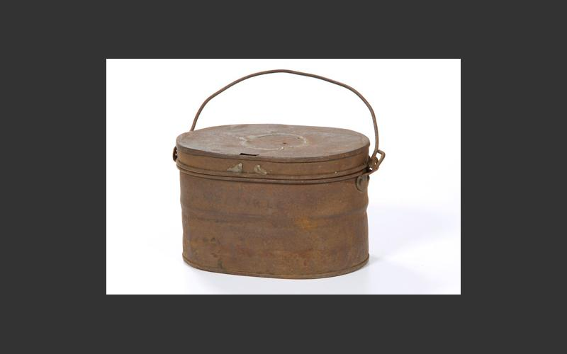 A lunch pail bought from Crockett's store in Westville, Pictou Co.