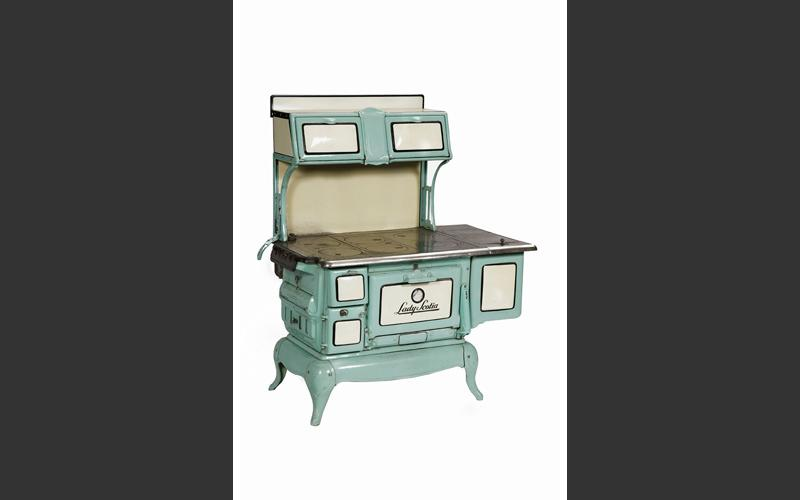 The Lady Scotia stove was part of a range of handsome enameled wood-burning kitchen stoves made in the 1920s and 1930s by Lunenburg Foundry.