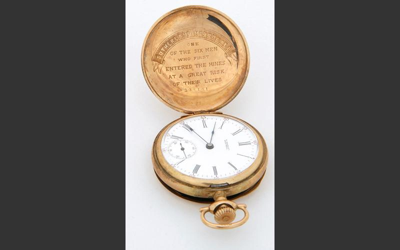 A gold watch presented to Sutherland MacDougall, one of the men who came to the rescue of those trapped by a serious fire in 1913.