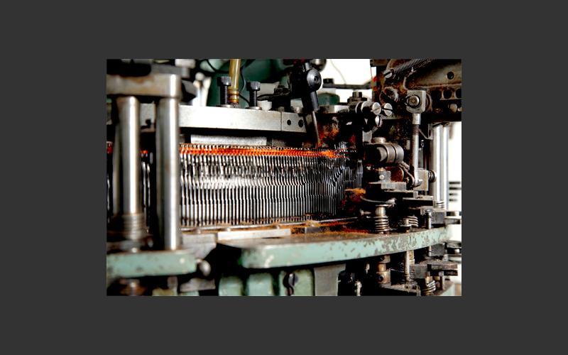 Detail shot of the knitting machine