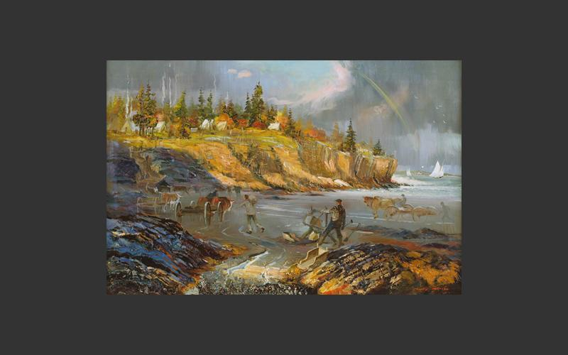 """The Ovens"" by Joseph Purcell, 1987. One of a group of twelve paintings depicting gold mining areas in Nova Scotia as they would have been in the 1800s when gold fever was at its height in the province."