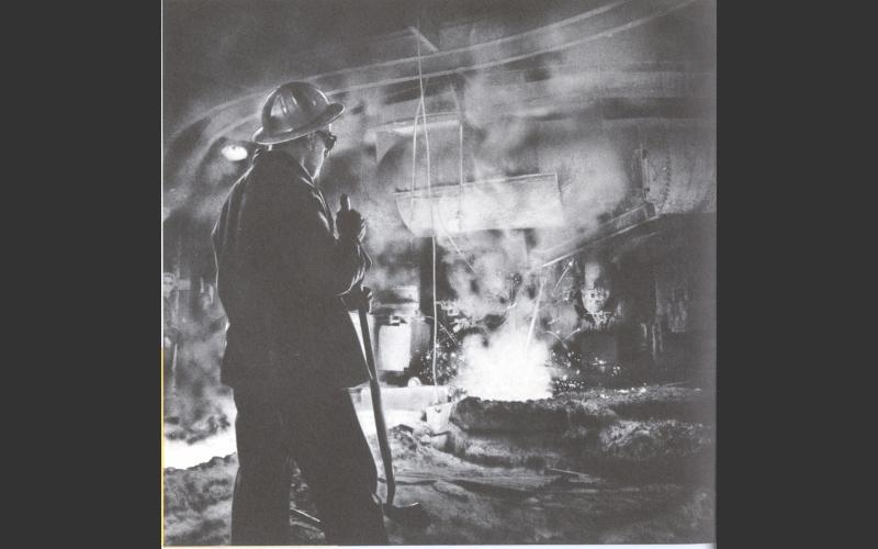 Drawing pig iron from the bottom of the Sydney Steel blast furnace; the first step toward making steel