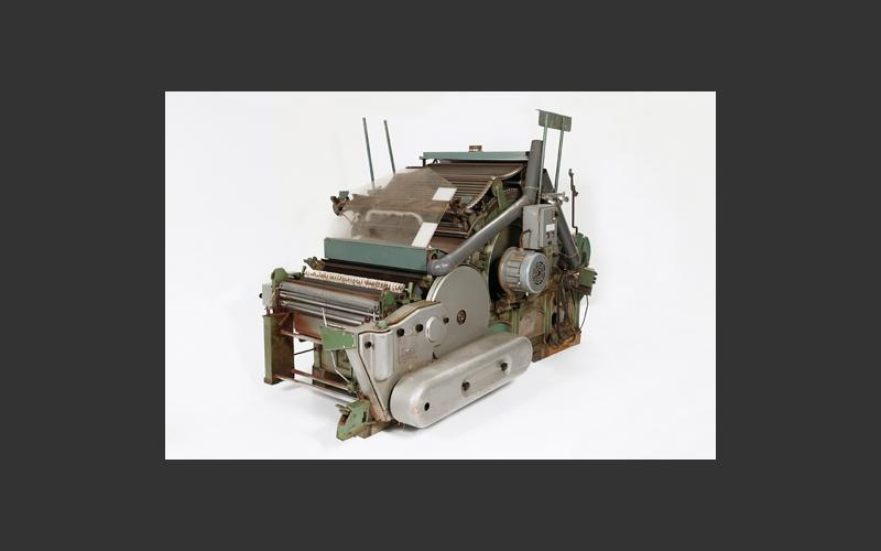 Carding machine from the Dominion Textile cotton mill in Yarmouth. The company began in the 1880s making sail canvas and survived into the 1980s by switching to industrial fabrics