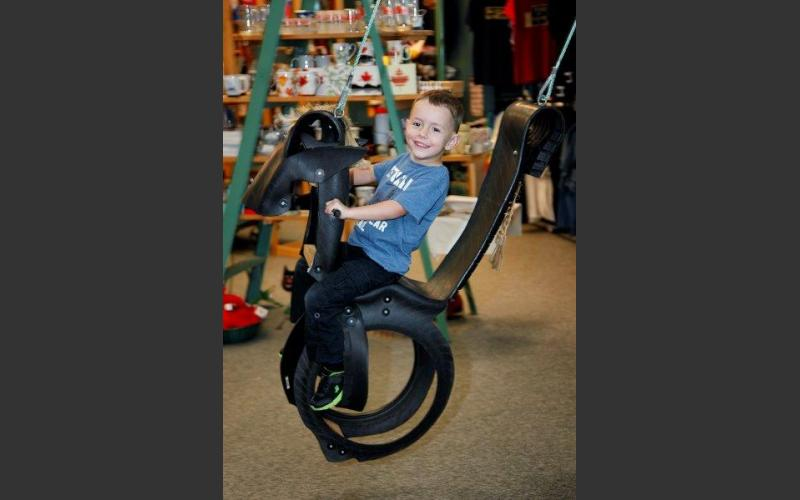 """The ever-popular Nova Scotia-made recycled """"tired"""" horse swing, for the young and the young at heart."""