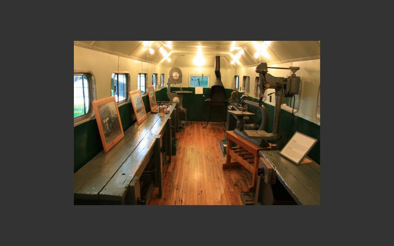 Inside the shopmobile you can find a small forge and scaled-down machine tools used to teach Nova Scotia boys in rural communities in the 1940s and 1950s.