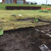 The archaeologists remove the sod from pits partially excavated in the 1980s and filled in for protection.