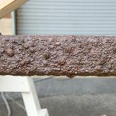 This is what the surface of the rail looks like now. We are going to try to improve it without damaging it.