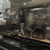 Technical components on display include a never-before-built simple and inexpensive black and white tv Clairtone planned to manufacture. This one shows all of the parts involved.