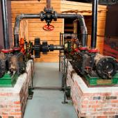 The Davies steam engine, on display in the Age of Steam Gallery, is really two engines linked together. It was built in Pictou in 1866 and used to haul boats on a marine railway.