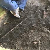 There were many pieces of metal and some bricks unearthed.