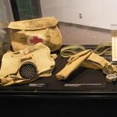 Display case with borrowed items from WWII
