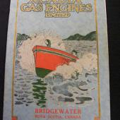 The striking cover of a catalogue produced by Acadia Gas Engines of Bridgewater, a leading producer of marine and stationary engines in Nova Scotia. Not currently on display