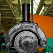 """See the """"saddle-back"""" shape of the boiler on our Locomotive Number 5, made by Baldwin Locomotive Works. For more information see the Locomotives section."""