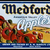 Medford Apples label. The export of apples from the Annapolis Valley is still an important Nova Scotia export. Did you know the Gravenstein apple was developed in Nova Scotia?