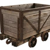 Coal car (pit tub) used to carry coal from underground to the surface.