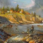 """""""The Ovens"""" by Joseph Purcell, 1987. One of a group of twelve paintings depicting gold mining areas in Nova Scotia as they would have been in the 1800s when gold fever was at its height in the province."""