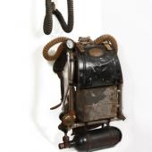 A set of breathing apparatus used by miner rescuers, the draegermen, named for a German-made brand of mine rescue equipment.