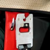 The shoulder seatbelt inside our Volvo. Volvo was the first to introduce this safety innovation, making it standard equipment from 1959 onward.