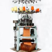 A British-made industrial knitting machine brought to Stellarton in 1958 by an Italian knitwear manufacturer