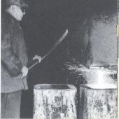 Filling ingot moulds with molten steel at Sydney