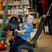 "The ever-popular Nova Scotia-made recycled ""tired"" horse swing, for the young and the young at heart."